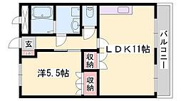 JR山陰本線 梁瀬駅 徒歩17分の賃貸アパート 2階1LDKの間取り
