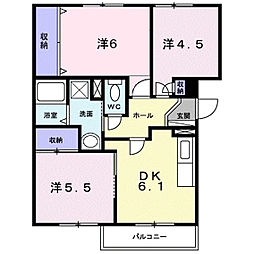 グランメール旗ヶ崎II[2階]の間取り