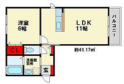 ジュネスFuji[1階]の間取り