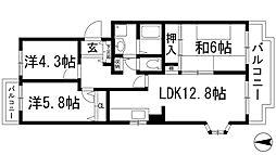 兵庫県川西市東畦野6丁目の賃貸マンションの間取り