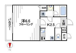 スリーベルマンションII[203号室]の間取り