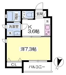 CASA OVEST3階Fの間取り画像