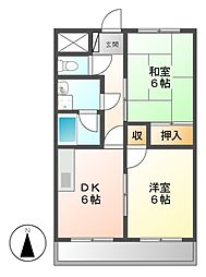 愛知県名古屋市中川区万町の賃貸マンションの間取り