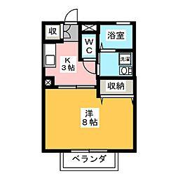 メゾン左富士 A[2階]の間取り