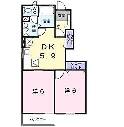 東京都府中市西府町4丁目の賃貸アパートの間取り