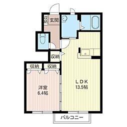 ペイサージュA[1階]の間取り
