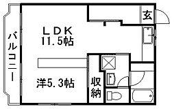 ルームミニオンB[2階]の間取り