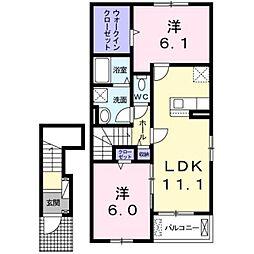 JR鹿児島本線 福間駅 バス15分 津屋崎小学校前下車 徒歩21分の賃貸アパート 2階2LDKの間取り