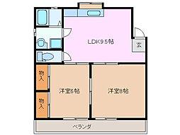 三重県四日市市大字松本の賃貸アパートの間取り
