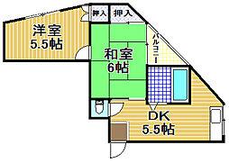 千鳥橋第一佐藤ビル[201号室]の間取り