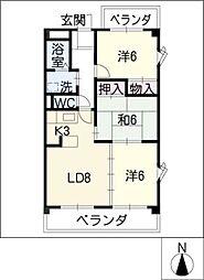 シャンポールKitou[3階]の間取り