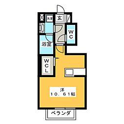 愛知県半田市成岩本町4丁目の賃貸アパートの間取り