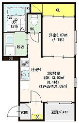 仮称)ハーモニーテラス・東大阪市荒川二丁目A[302号室]の間取り