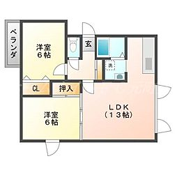 北海道札幌市東区北三十四条東28丁目の賃貸アパートの間取り