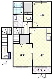 新潟県新潟市北区太夫浜の賃貸アパートの間取り