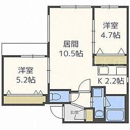 aoakua白石(アオアクア白石)[4階]の間取り