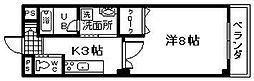 JR阪和線 熊取駅 徒歩2分の賃貸マンション 8階1Kの間取り