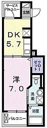 小田急江ノ島線 湘南台駅 徒歩14分の賃貸アパート 2階1DKの間取り