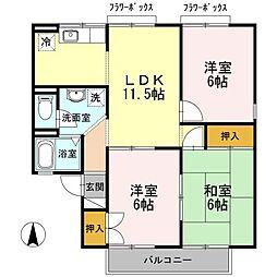 サンビューラ仙道 A棟[2階]の間取り