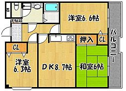 兵庫県明石市樽屋町の賃貸マンションの間取り