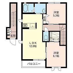レジデンス桜123 B[2階]の間取り