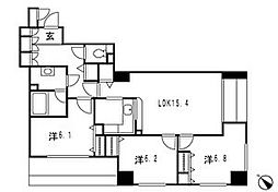 神奈川県横浜市神奈川区金港町の賃貸マンションの間取り