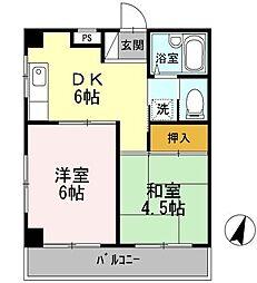 鶴寿館(カクジュカン)[201号室]の間取り