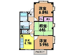 愛媛県松山市朝生田町2丁目の賃貸マンションの間取り