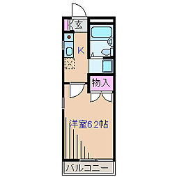 神奈川県横浜市港北区篠原北1丁目の賃貸アパートの間取り