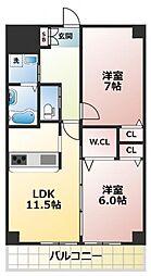 エーデル深江橋[8階]の間取り