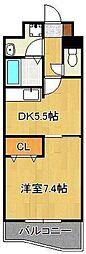 ベイプレイス小倉 4階1DKの間取り