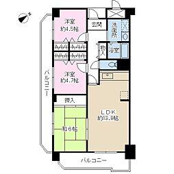 ドミール有住[7階]の間取り