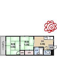 JR片町線(学研都市線) 徳庵駅 徒歩5分の賃貸マンション 2階2DKの間取り