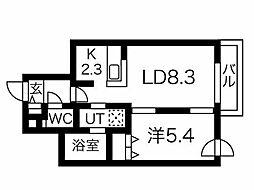 ブランシャール円山桜通り 4階1LDKの間取り