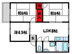 福岡県古賀市花見南2丁目の賃貸アパートの間取り