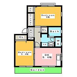 サンロード赤塚 B[1階]の間取り