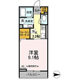 小田急小田原線 本厚木駅 徒歩8分の賃貸アパート 2階1Kの間取り