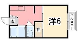 タウニィ新在家C棟[2階]の間取り
