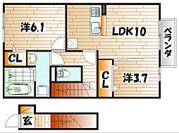 プランドール C棟[2階]の間取り