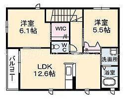 岡山県倉敷市玉島中央町2丁目の賃貸アパートの間取り
