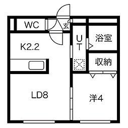 札幌市営南北線 中島公園駅 徒歩12分の賃貸マンション 4階1LDKの間取り