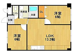 安堂寺マンション[2階]の間取り