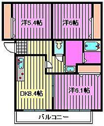 COURT-YARD三橋公園C[3階]の間取り