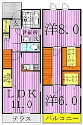 千葉県柏市大室3丁目の賃貸アパートの間取り