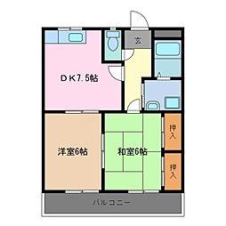 三重県鈴鹿市西条3丁目の賃貸アパートの間取り