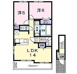 仮称枝吉2丁目アパートII 2階2LDKの間取り