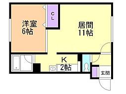M&M2 1階1LDKの間取り