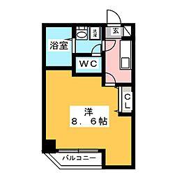 金太郎ヒルズ243松が谷 6階1Kの間取り