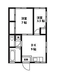 シャトル愛川[201号室]の間取り