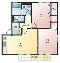 高知県高知市みづき2丁目の賃貸アパートの間取り